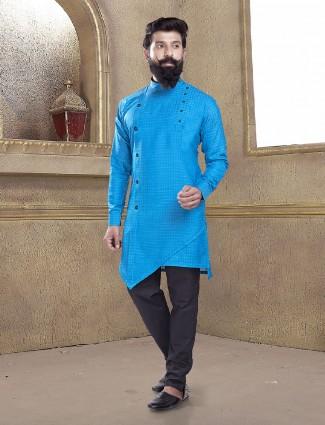 Light yellow blue color kurta suit