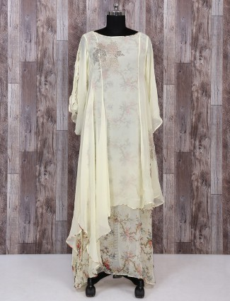 Light yellow color georgette palazzo suit