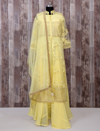 Light yellow color net fabric anarkali suit