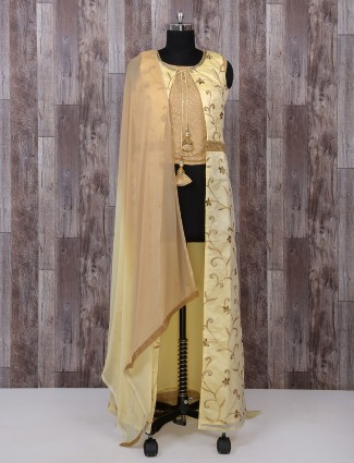 Light yellow color palazzo anarkali suit