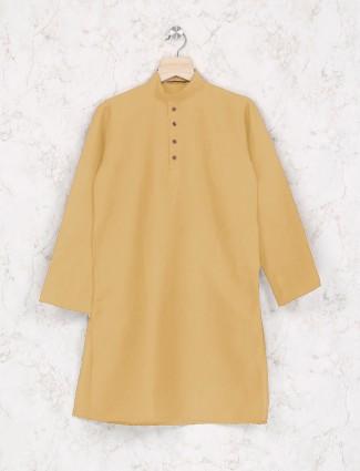 Light yellow cotton fabric festive kurta suit
