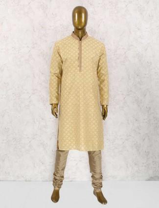 Light yellow cotton kurta suit