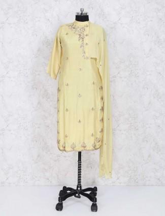 Light yellow cotton silk sharara suit