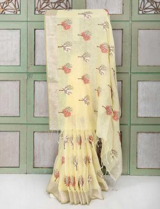 Light yellow designer festive saree
