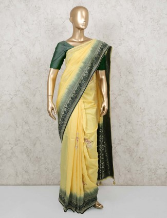 Light yellow designer thread weaving muga silk saree for festive