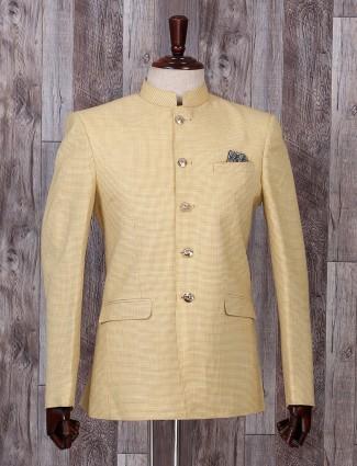 Light yellow hue printed jodhpuri style blazer