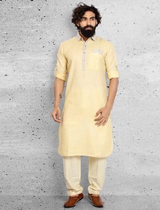Light yellow linen festive wear pathani suit