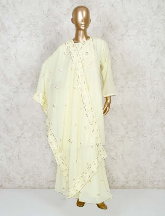 Light yellow palazzo salwar kameez in cotton silk