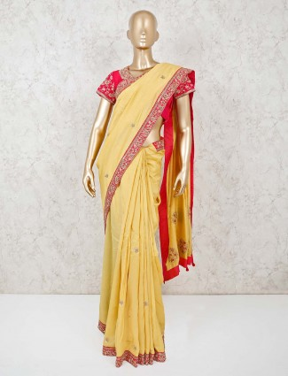 Light yellow cotton silk ready made blouse saree for festivals
