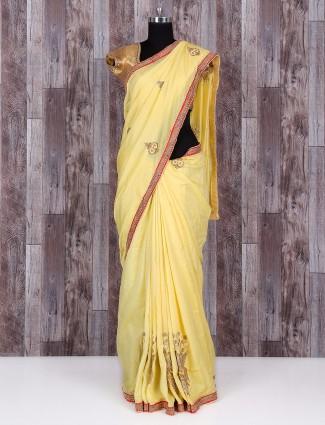 Light yellow silk amazing saree