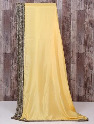 Light yellow silk fabric saree