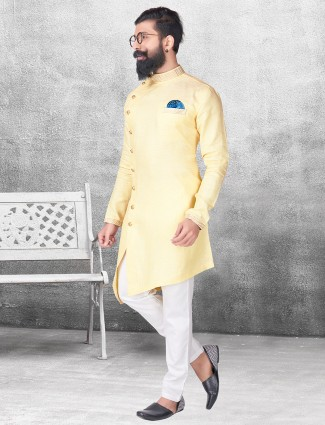 Light yellow silk kurta suit