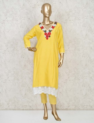 Light yellow straight cut salwar suit with pants in cotton