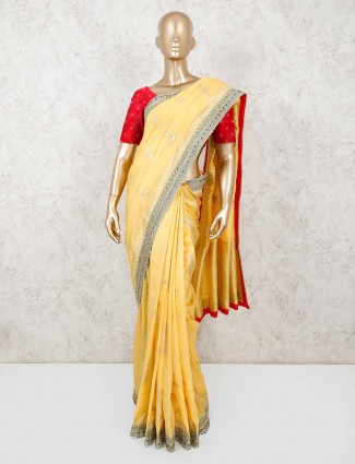 Light yellow thread weaving muga silk saree
