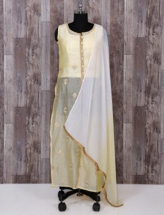 Light yellow tissue silk salwar suit
