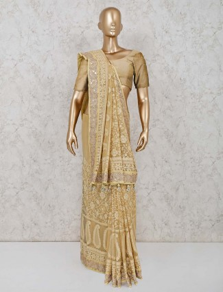Lime yellow lucknowi georgette saree for wedding reception