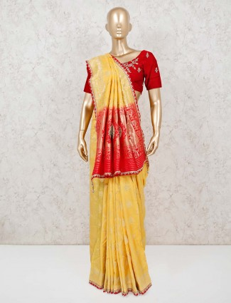 Lime yellow muga silk zari weaving saree