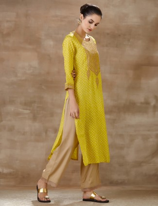 Lime yellow printed pant suit in cotton