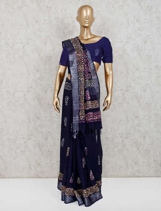 Linen black printed festive saree
