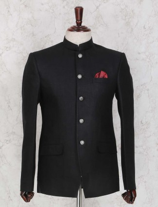 Linen black solid jodhpuri suit