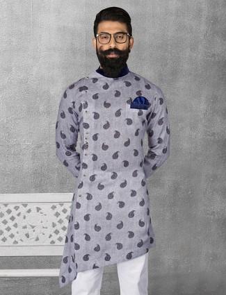 Linen blue color printed short pathani