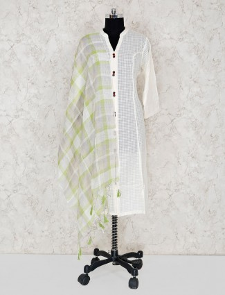 Linen checks grey dupatta