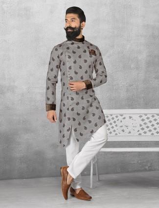 Linen grey color printed kurta suit