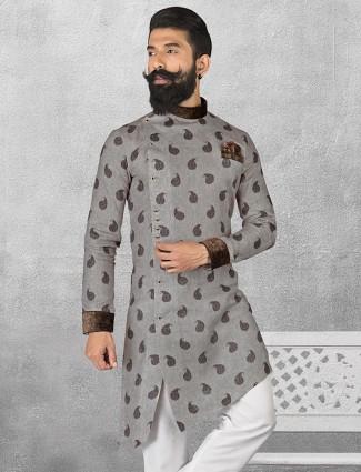 Linen grey color printed short pathani