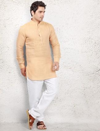 Linen light yellow pathani suit
