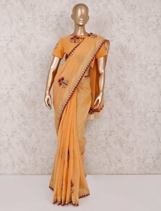 Linen peach designer saree with ready made blouse