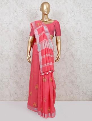 Linen pink designer reception saree