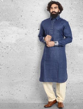 Linen plain navy pathani suit