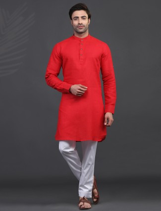 Linen red full sleeve kurta suit