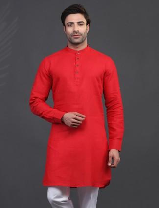 Linen red kurta for mens