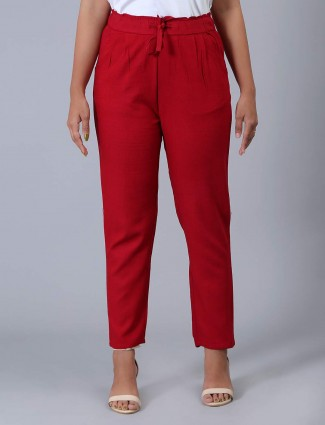 Linen solid red pyjama