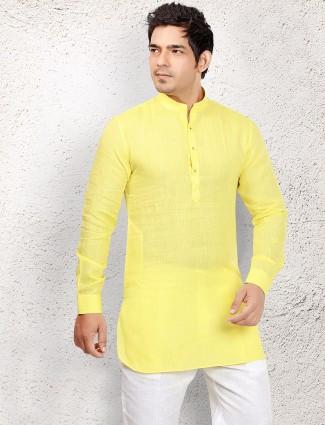 Linen yellow festive pathani suit