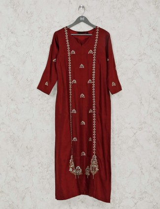 Long kurti in maroon cotton