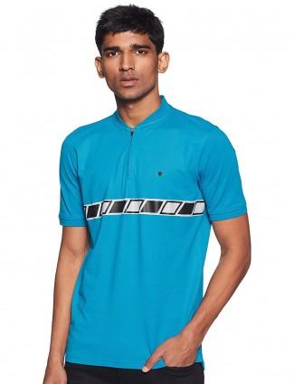 Louis Philippe aqua solid casual t-shirt