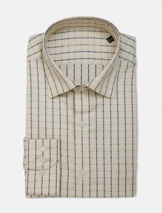 Louis Philippe cream checks cotton shirt