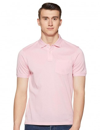 Louis Philippe pink solid cotton t-shirt