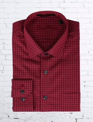 Louis Philippe printed red formal shirt in cotton fabric.
