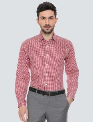 Louis Philippe red checks cotton shirt