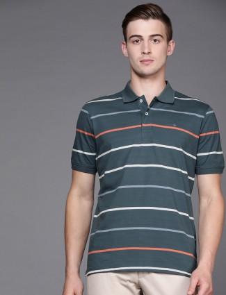 Louis Philippe sea green stripe t-shirt