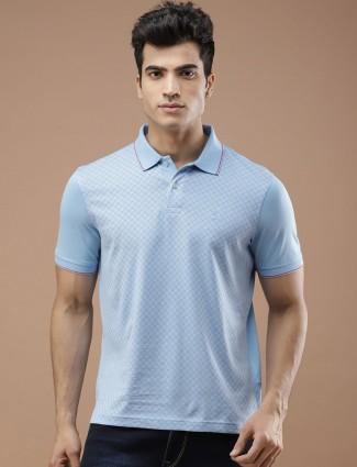 Louis Philippe sky blue checks t-shirt