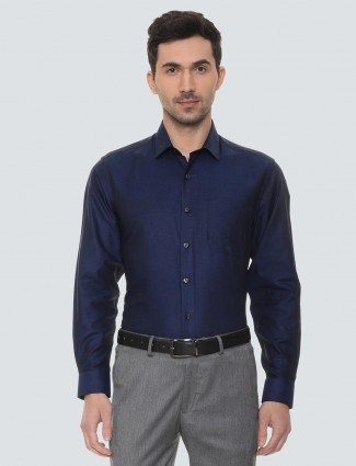 Louis Philippe solid navy shirt