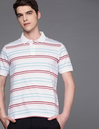 Louis Philippe white simple stripe t-shirt