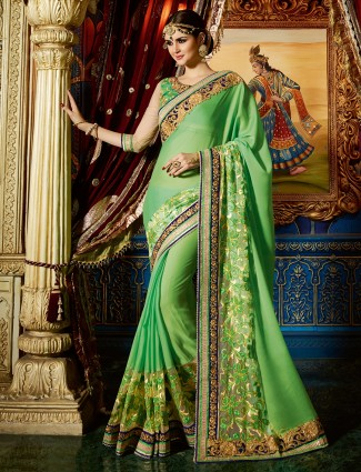 Lovely green georgette designer saree