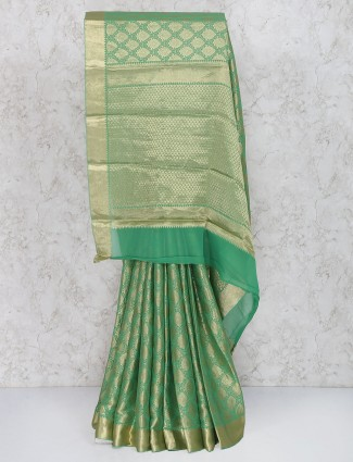 Lovely green saree in georgette fabric