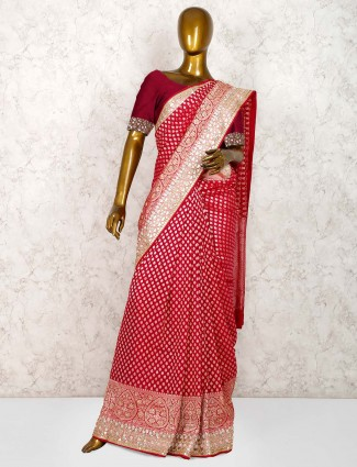 Lovely magenta color banarasi georgette saree