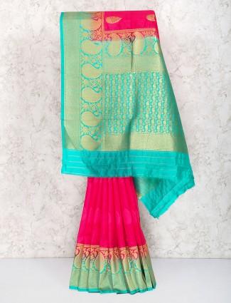 Lovely magenta color semi silk saree